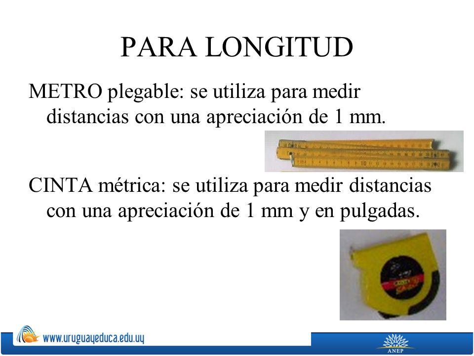 PARA LONGITUD METRO plegable: se utiliza para medir distancias con una apreciación de 1 mm.