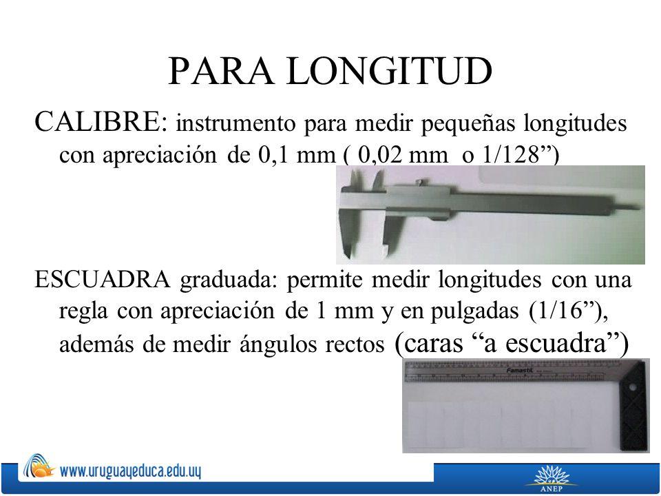 PARA LONGITUD CALIBRE: instrumento para medir pequeñas longitudes con apreciación de 0,1 mm ( 0,02 mm o 1/128 )