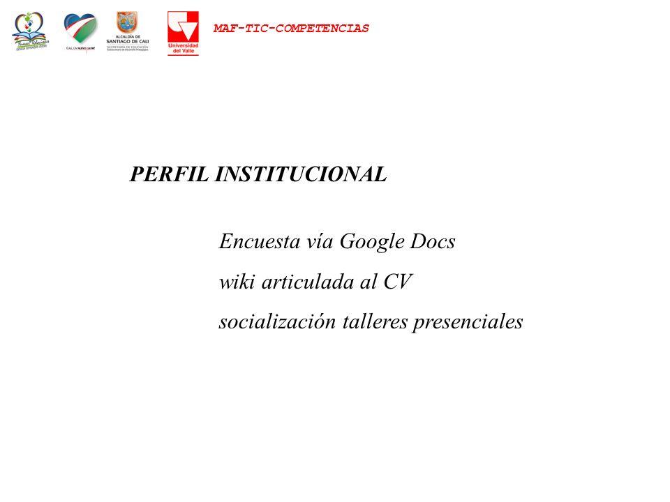 PERFIL INSTITUCIONAL Encuesta vía Google Docs. wiki articulada al CV.