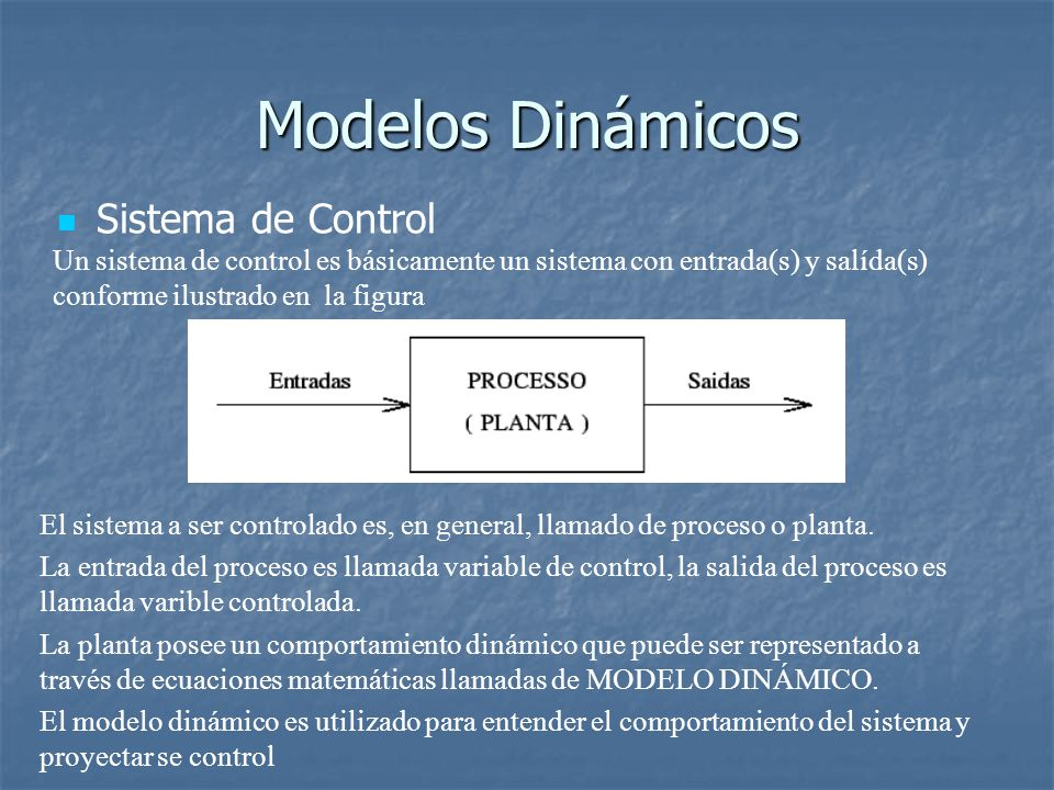 Modelos Dinámicos Sistema de Control