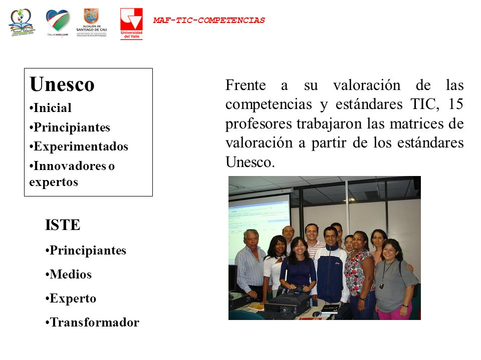 Unesco Inicial Principiantes Experimentados Innovadores o expertos