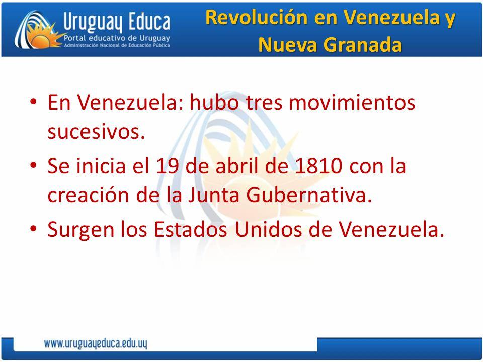 Revolución en Venezuela y Nueva Granada