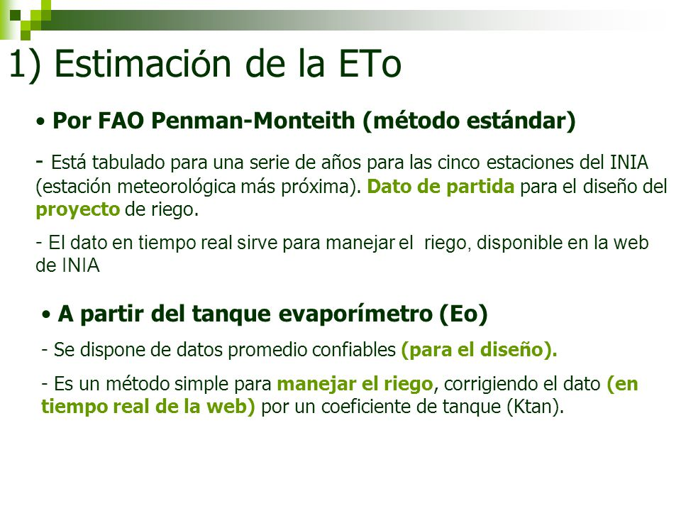 1) Estimación de la ETo Por FAO Penman-Monteith (método estándar)