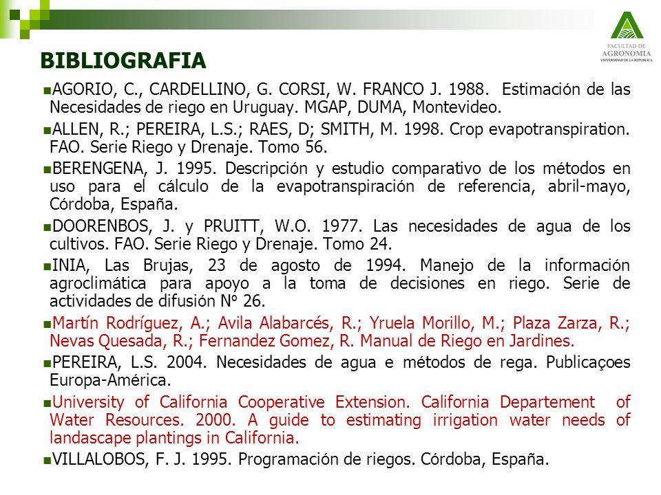 BIBLIOGRAFIA AGORIO, C., CARDELLINO, G. CORSI, W. FRANCO J. 1988. Estimación de las Necesidades de riego en Uruguay. MGAP, DUMA, Montevideo.