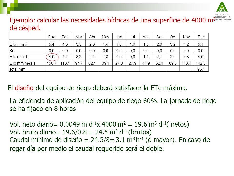 El diseño del equipo de riego deberá satisfacer la ETc máxima.