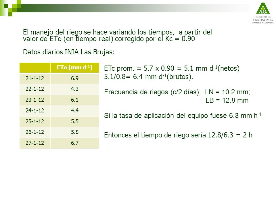 ETc prom. = 5.7 x 0.90 = 5.1 mm d-1(netos)