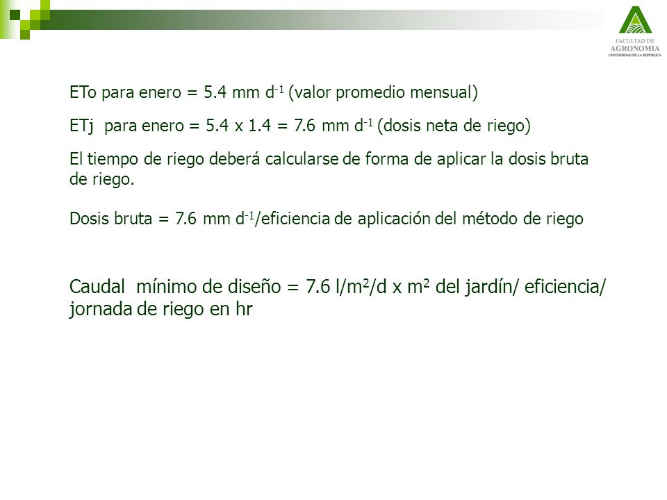 ETo para enero = 5.4 mm d-1 (valor promedio mensual)