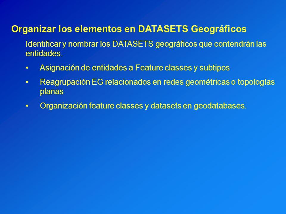 Organizar los elementos en DATASETS Geográficos