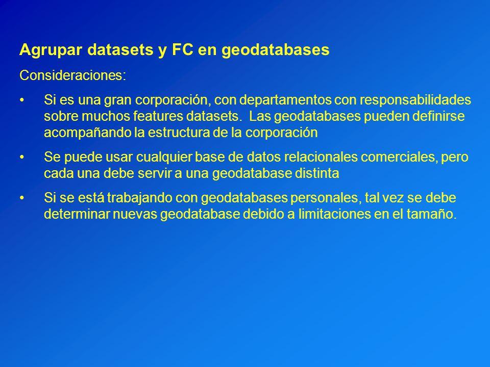 Agrupar datasets y FC en geodatabases