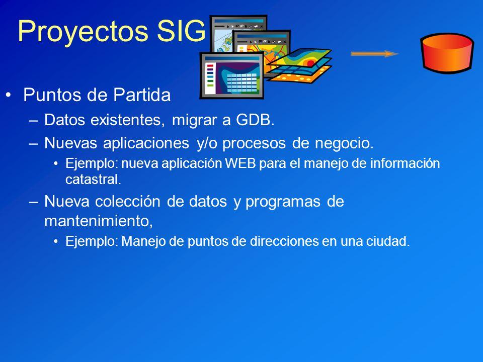 Proyectos SIG Puntos de Partida Datos existentes, migrar a GDB.