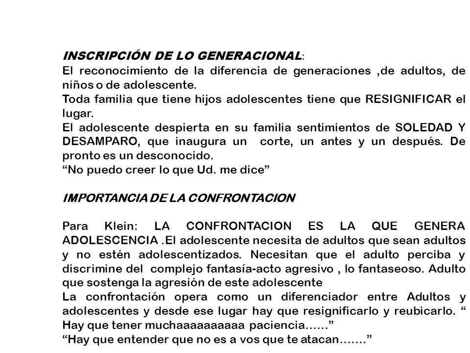 INSCRIPCIÓN DE LO GENERACIONAL: