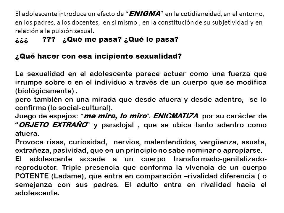 El adolescente introduce un efecto de ENIGMA en la cotidianeidad, en el entorno, en los padres, a los docentes, en si mismo , en la constitución de su subjetividad y en relación a la pulsión sexual.