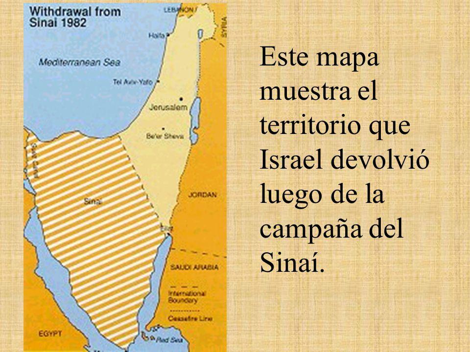 Este mapa muestra el territorio que Israel devolvió luego de la campaña del Sinaí.