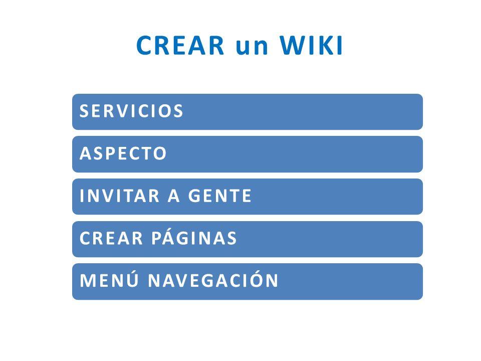 CREAR un WIKI SERVICIOS ASPECTO INVITAR A GENTE CREAR PÁGINAS