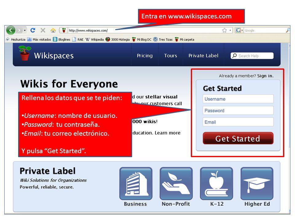 Entra en www.wikispaces.com