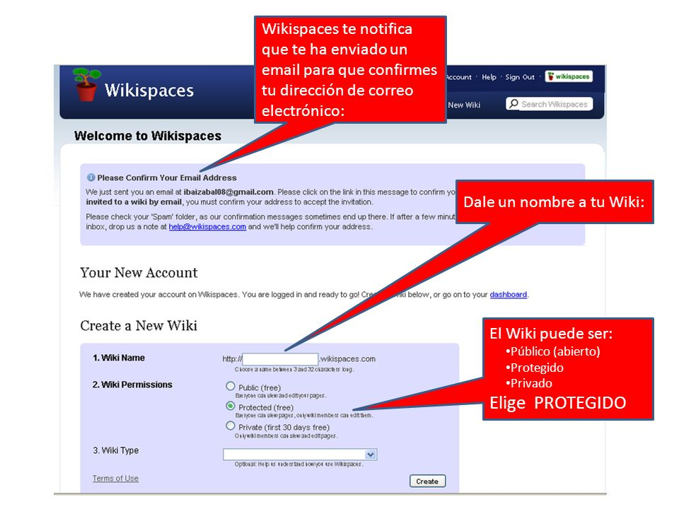 Wikispaces te notifica que te ha enviado un email para que confirmes tu dirección de correo electrónico: