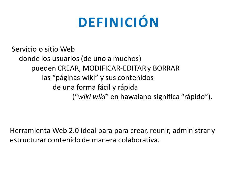 DEFINICIÓN Servicio o sitio Web donde los usuarios (de uno a muchos)