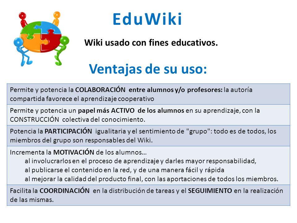 EduWiki Ventajas de su uso: Wiki usado con fines educativos.