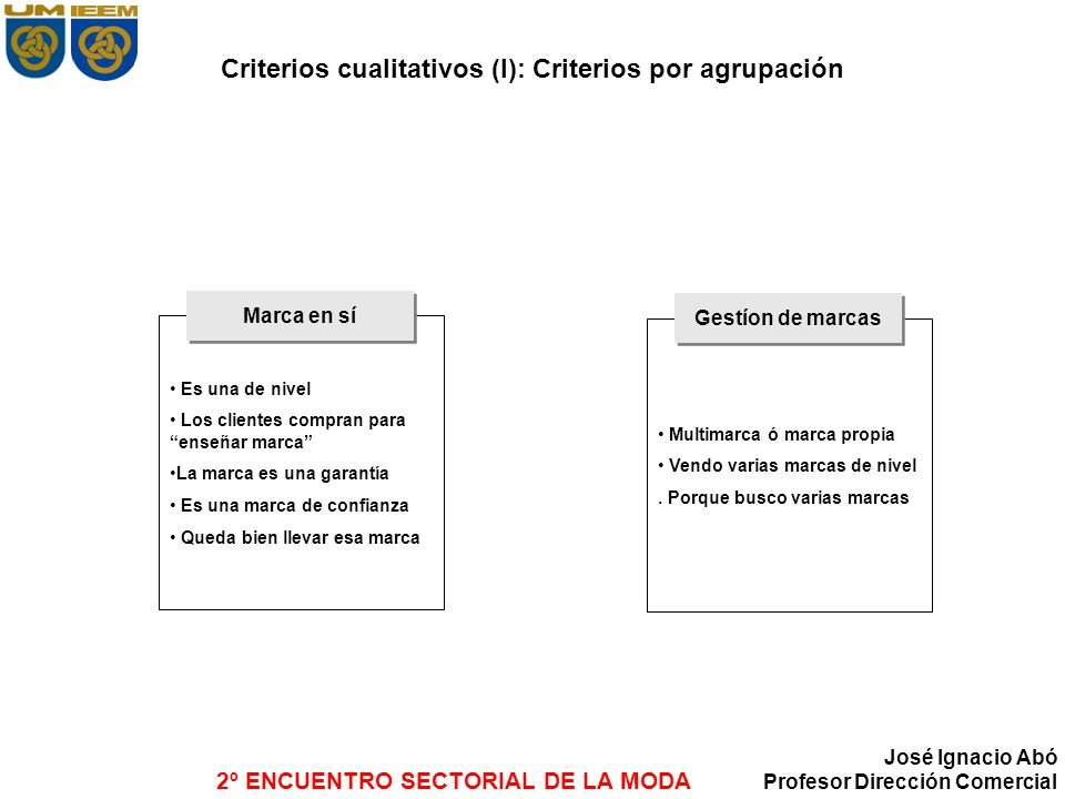 Criterios cualitativos (I): Criterios por agrupación