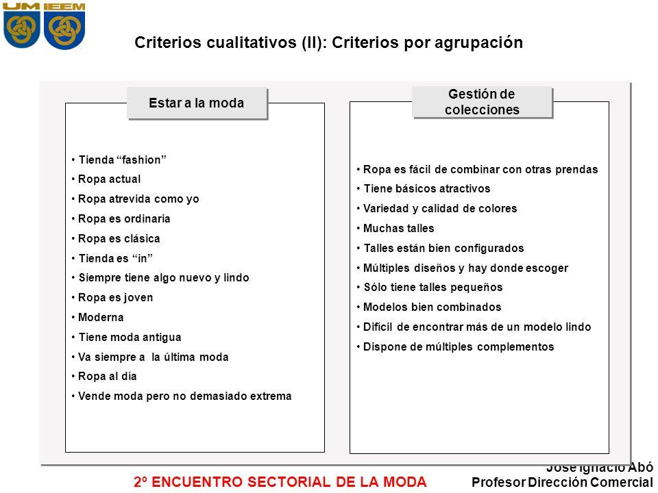 Criterios cualitativos (II): Criterios por agrupación
