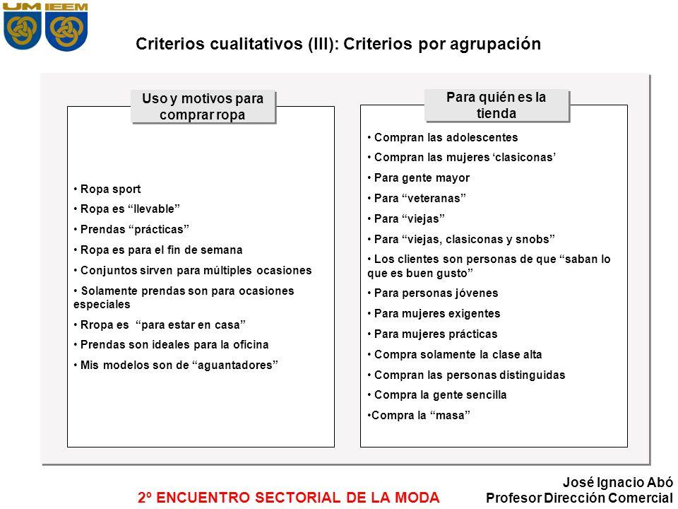 Criterios cualitativos (III): Criterios por agrupación