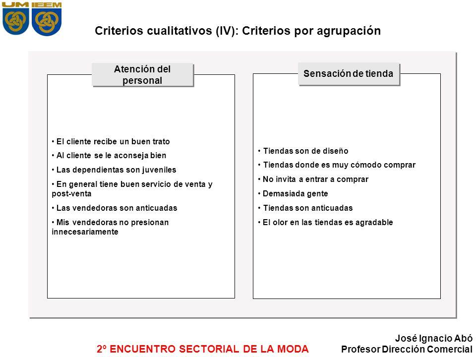 Criterios cualitativos (IV): Criterios por agrupación