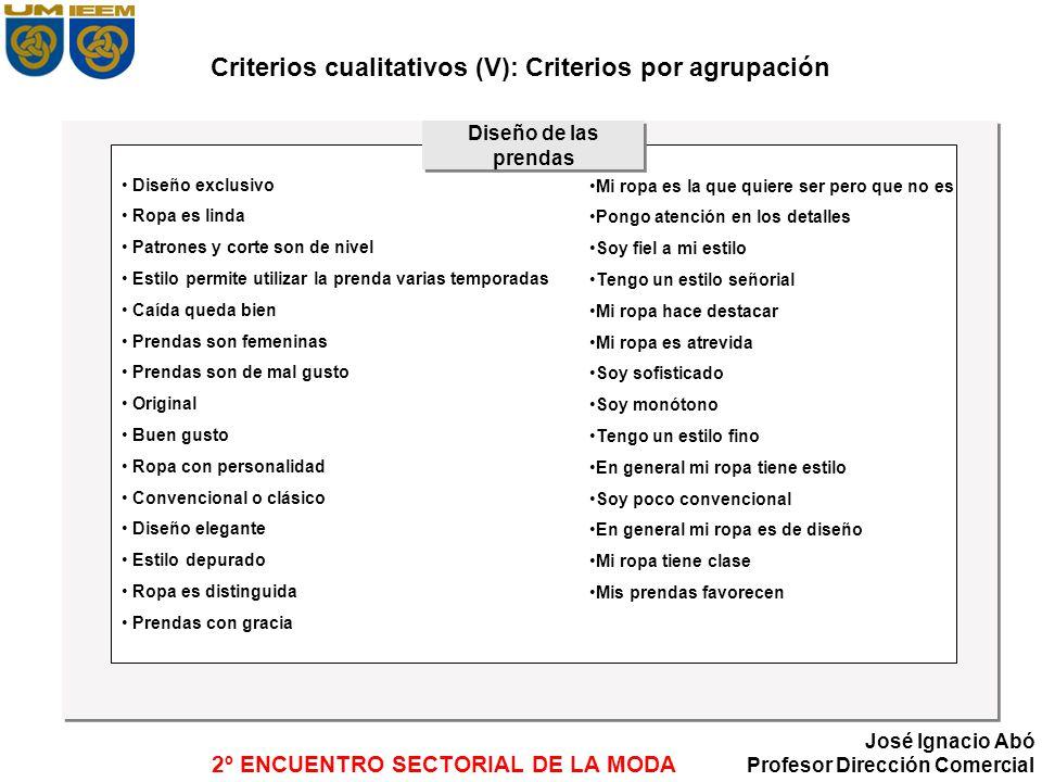 Criterios cualitativos (V): Criterios por agrupación