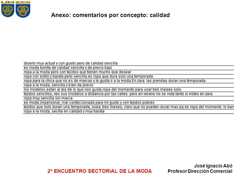 Anexo: comentarios por concepto: calidad