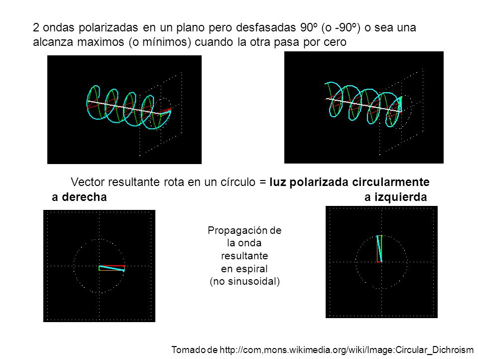 Propagación de la onda resultante en espiral (no sinusoidal)