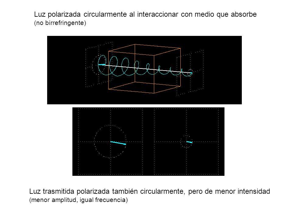 Luz polarizada circularmente al interaccionar con medio que absorbe (no birrefringente)