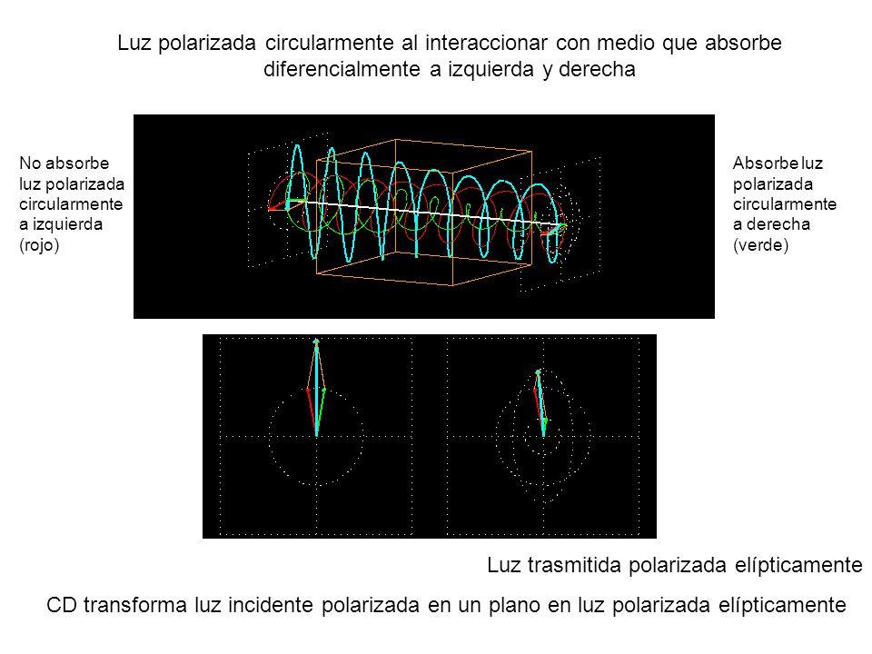 Luz trasmitida polarizada elípticamente
