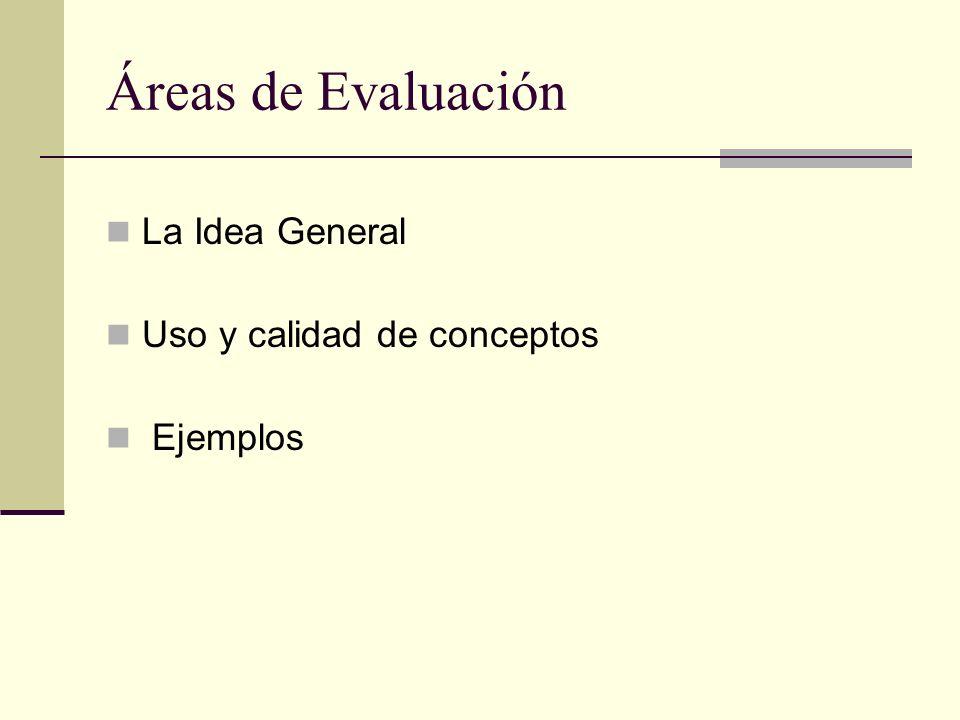 Áreas de Evaluación La Idea General Uso y calidad de conceptos