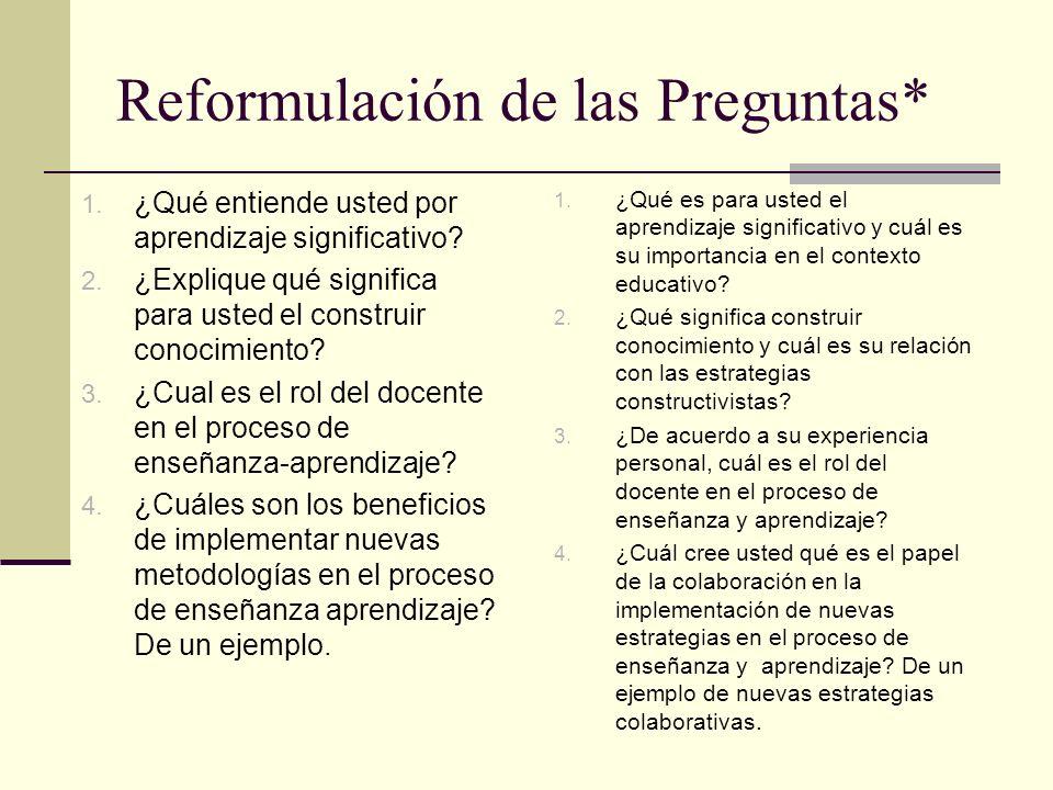 Reformulación de las Preguntas*
