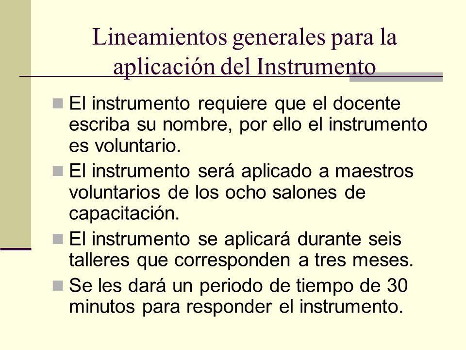 Lineamientos generales para la aplicación del Instrumento