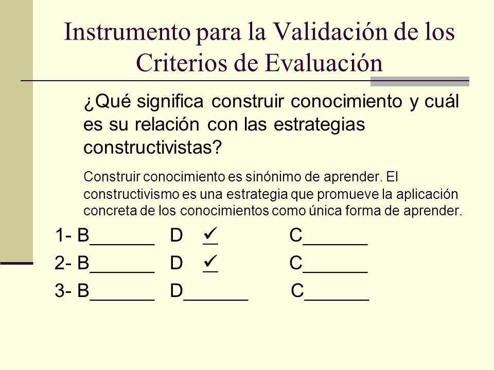 Instrumento para la Validación de los Criterios de Evaluación