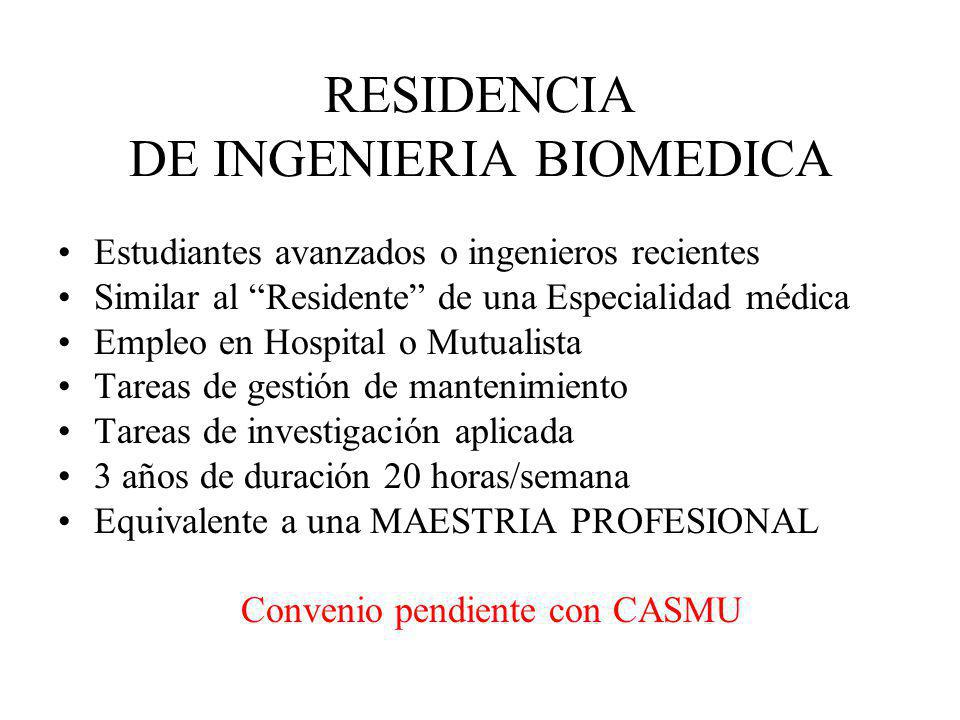 RESIDENCIA DE INGENIERIA BIOMEDICA