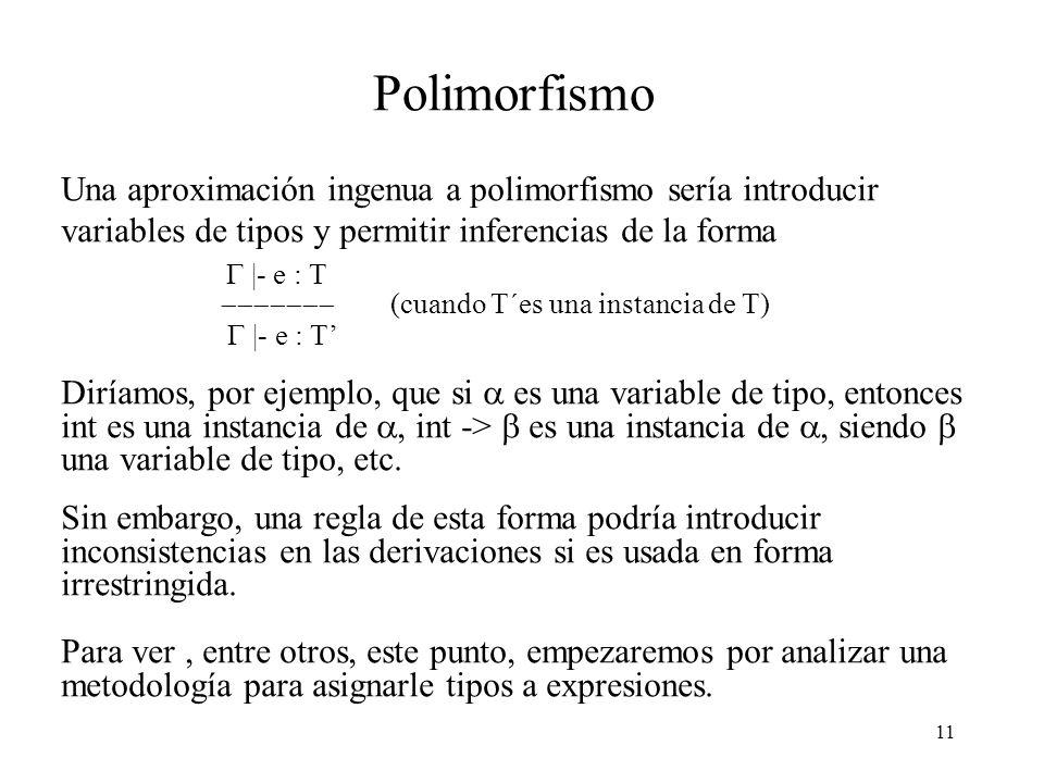 Polimorfismo Una aproximación ingenua a polimorfismo sería introducir variables de tipos y permitir inferencias de la forma.