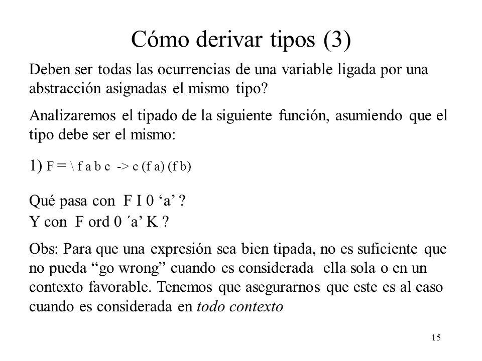 Cómo derivar tipos (3) Deben ser todas las ocurrencias de una variable ligada por una abstracción asignadas el mismo tipo