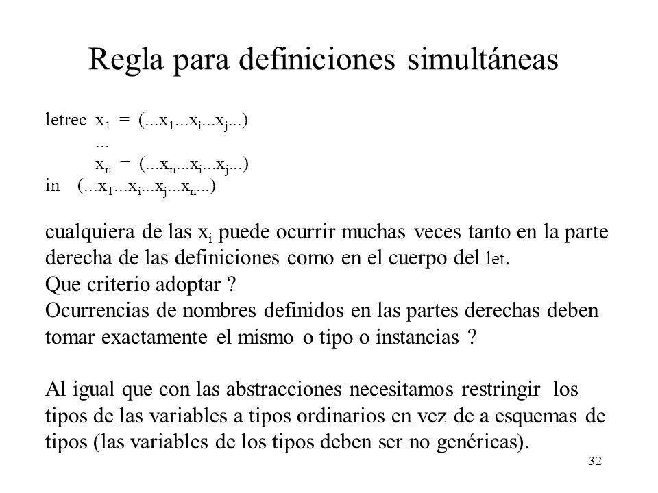 Regla para definiciones simultáneas