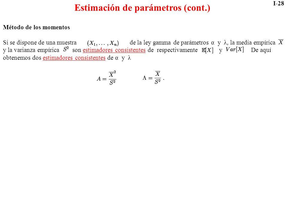 Estimación de parámetros (cont.)