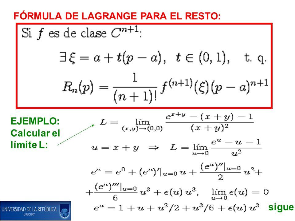FÓRMULA DE LAGRANGE PARA EL RESTO: