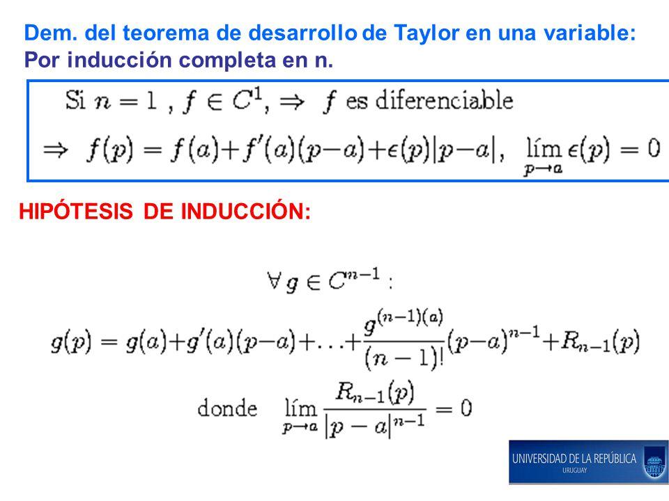 Dem. del teorema de desarrollo de Taylor en una variable: