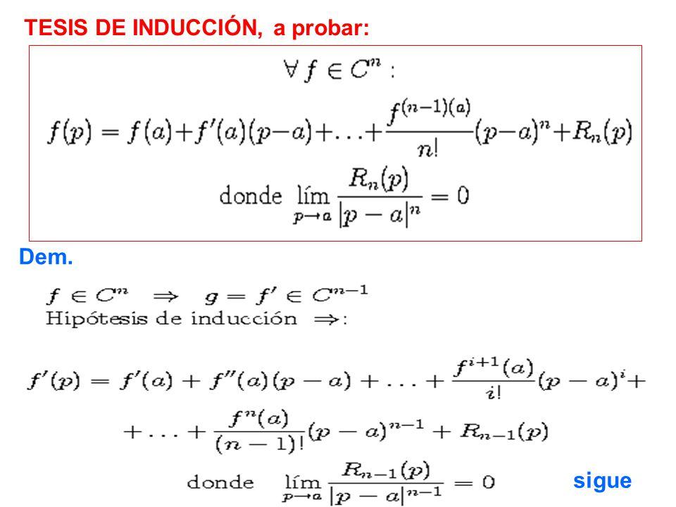 TESIS DE INDUCCIÓN, a probar: