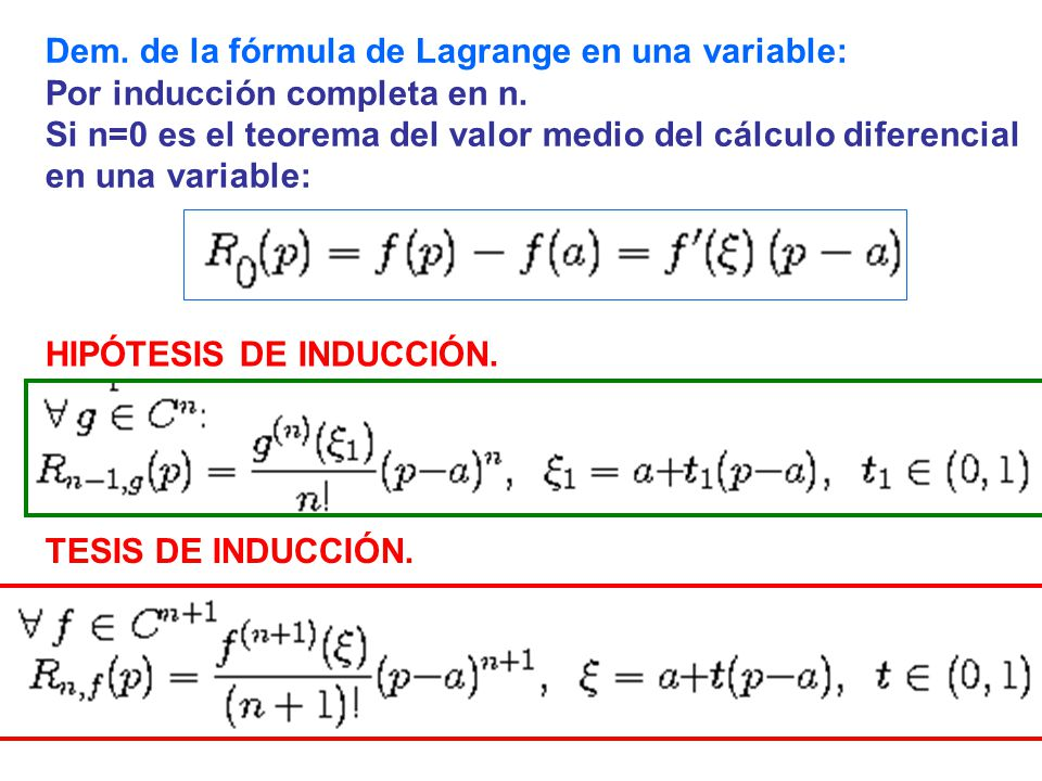 Dem. de la fórmula de Lagrange en una variable: