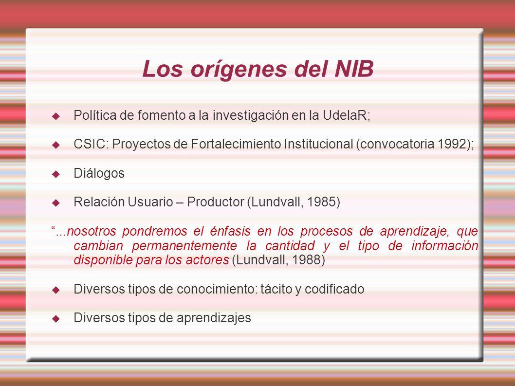 Los orígenes del NIB Política de fomento a la investigación en la UdelaR; CSIC: Proyectos de Fortalecimiento Institucional (convocatoria 1992);
