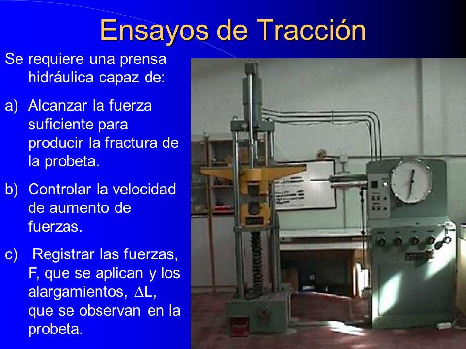 Ensayos de Tracción Se requiere una prensa hidráulica capaz de: