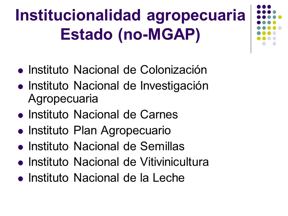 Institucionalidad agropecuaria Estado (no-MGAP)