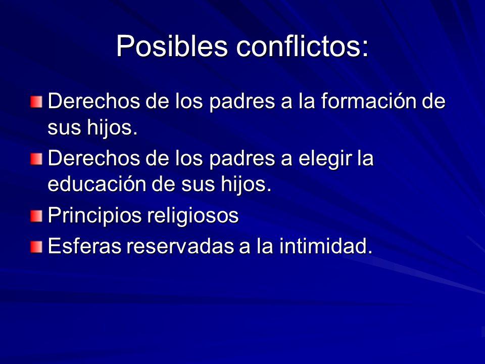 Posibles conflictos: Derechos de los padres a la formación de sus hijos. Derechos de los padres a elegir la educación de sus hijos.