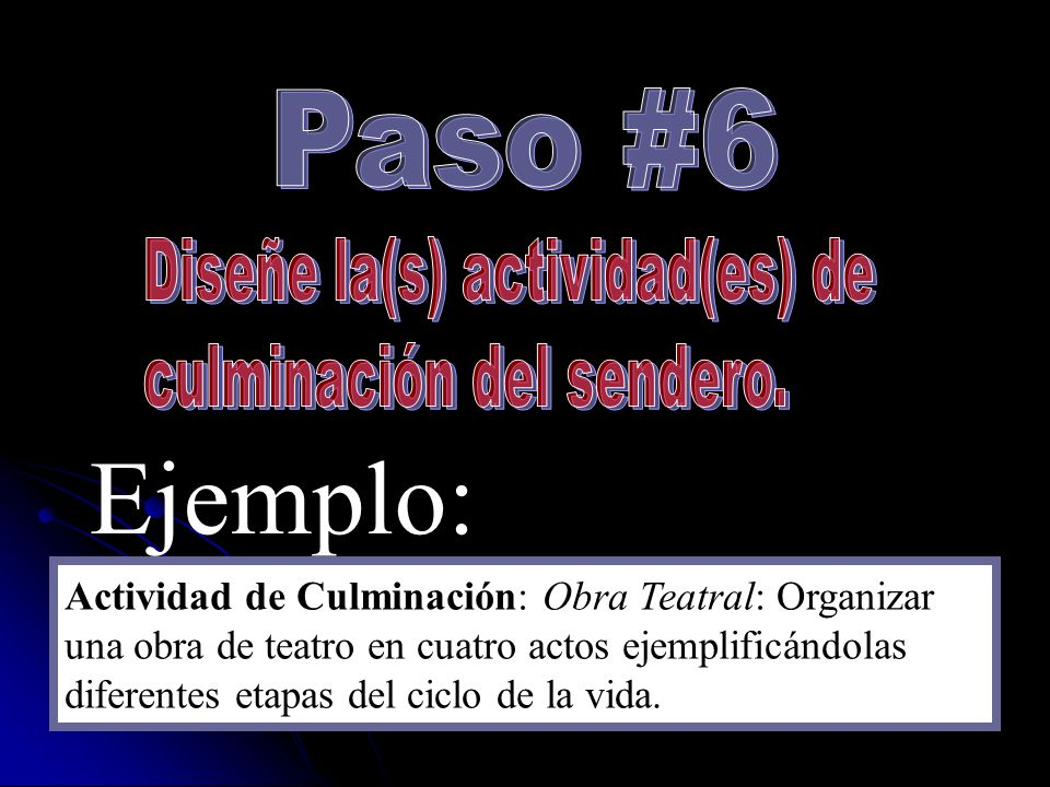 Ejemplo: Paso #6 Diseñe la(s) actividad(es) de