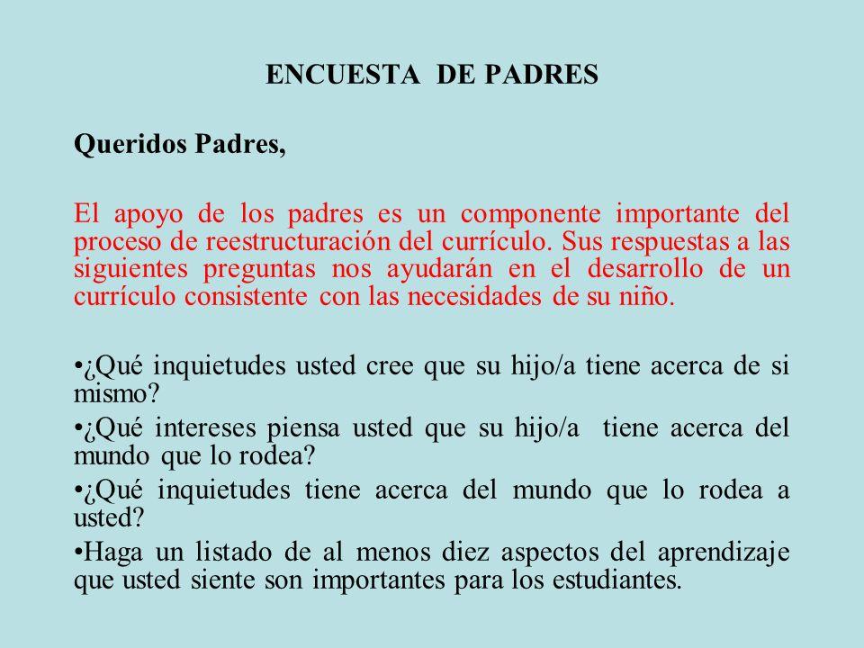 ENCUESTA DE PADRES Queridos Padres,